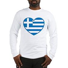 Greek flag heart Long Sleeve T-Shirt