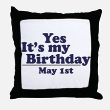 May 1 Birthday Throw Pillow