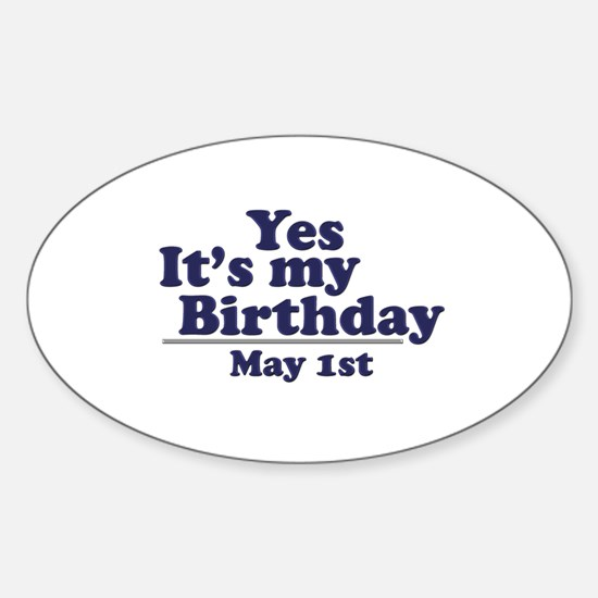 May 1 Birthday Oval Decal