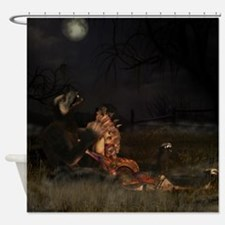 Werewolf And Gothic Female Love Shower Curtain