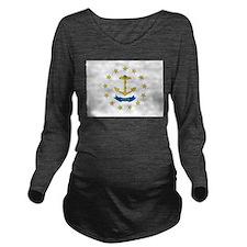 Rhode Island Flag Long Sleeve Maternity T-Shirt