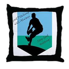 Good Pitching Stops Good Hitting Throw Pillow