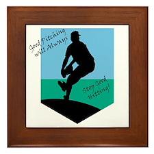 Good Pitching Stops Good Hitting Framed Tile