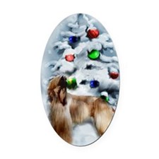 afghan hound christmas Oval Car Magnet