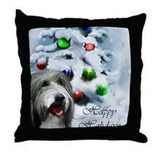 beardie christmas TEXT Throw Pillow