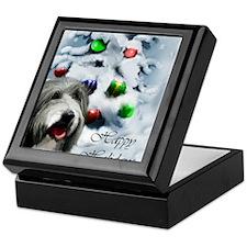beardie christmas TEXT Keepsake Box