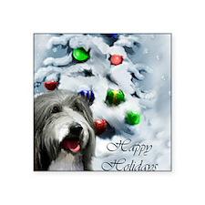 "beardie christmas TEXT Square Sticker 3"" x 3"""