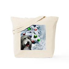 beardie christmas TEXT Tote Bag