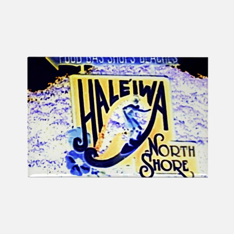 Haleiwa beach hawaii signs Rectangle Magnet