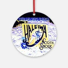 Haleiwa beach hawaii signs Round Ornament