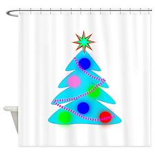 Blue Christmas Tree Shower Curtain