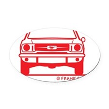 65 Mustang_Fr_red Oval Car Magnet