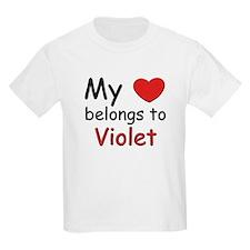 My heart belongs to violet Kids T-Shirt
