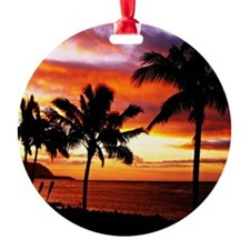 Hawaiian beach sunset Ornament