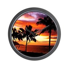 Hawaiian beach sunset Wall Clock