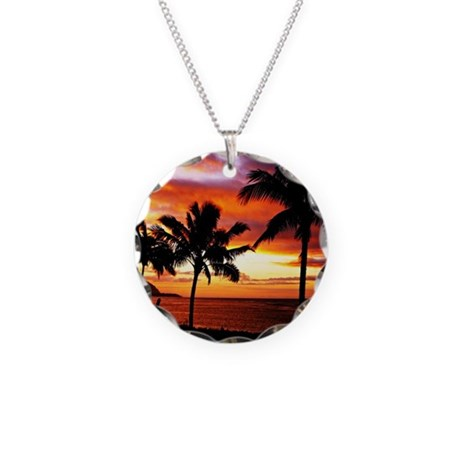 Hawaiian beach sunset Necklace Circle Charm