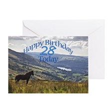 28th Birthday with a horse. Greeting Cards
