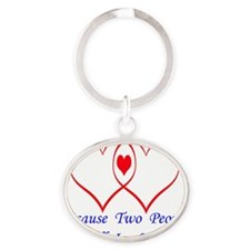 outlineheartbluelettersuse Oval Keychain