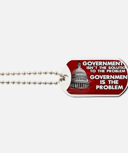 5x3 oval Government is the Problem Dog Tags
