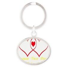 outlineheartusetransyellowletters Oval Keychain