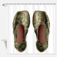 Camo Pointe Shoes Shower Curtain