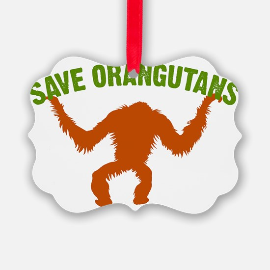 Save Orangutans large rect. Ornament