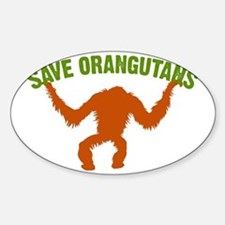 Save Orangutans large rect. Sticker (Oval)