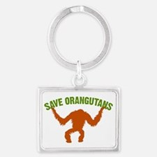 Save Orangutans large rect. Landscape Keychain