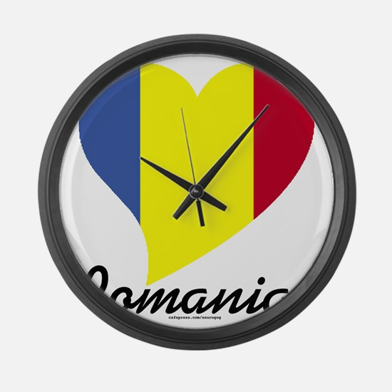 Heart Romania (World) Large Wall Clock