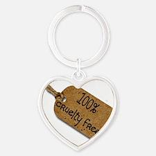 100% fur free 2 Heart Keychain