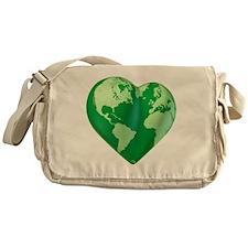 planet_green_love_heart Messenger Bag