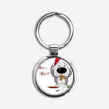 SheepdogBlueShirt Round Keychain