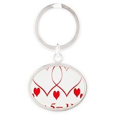 hearttwoplusfiveusetrans Oval Keychain