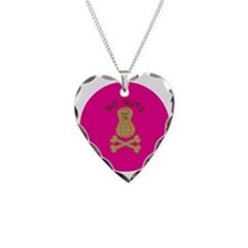 skullnutpinkbg Necklace Heart Charm