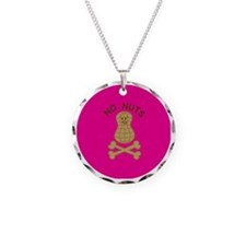 skullnutpinkbg Necklace Circle Charm