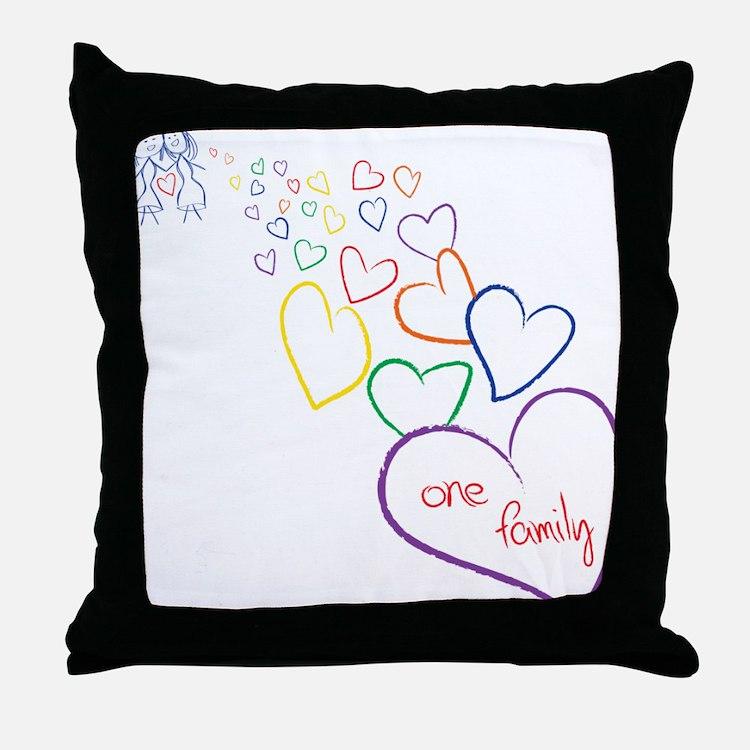 2Moms1FamilyHeartDesign Throw Pillow