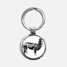 llama Round Keychain