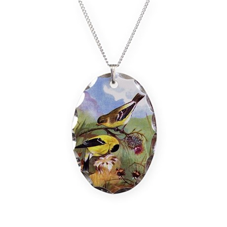 Goldfinch Necklace Oval Charm