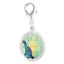peacock Silver Oval Charm