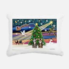 Xmas Magic - Two Brown T Rectangular Canvas Pillow