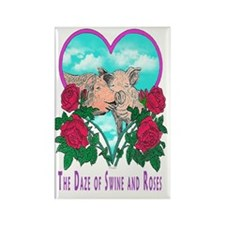 SWINE AND ROSES  2 greeting card Rectangle Magnet
