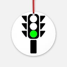 Green Light Stoplight Ornament (Round)