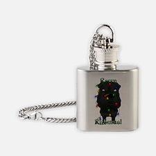 BlkSharPeiLightsInside2x Flask Necklace