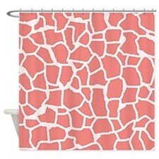 Cute Coral Pink Giraffe Animal Print Shower Curtai