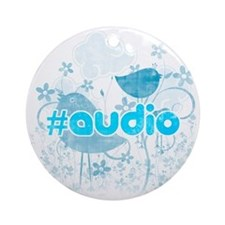 Audio-hash-tag-distressed Round Ornament