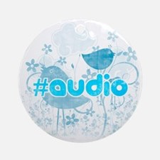 Audio-hash-tag-distressed Round Ornament