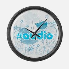 Audio-hash-tag-distressed Large Wall Clock