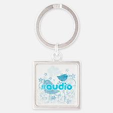 Audio-hash-tag-distressed Square Keychain