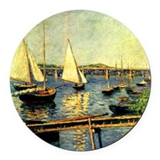 Caillebotte: Sailing Boats at Arg Round Car Magnet