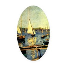 Caillebotte: Sailing Boats at Arge Oval Car Magnet